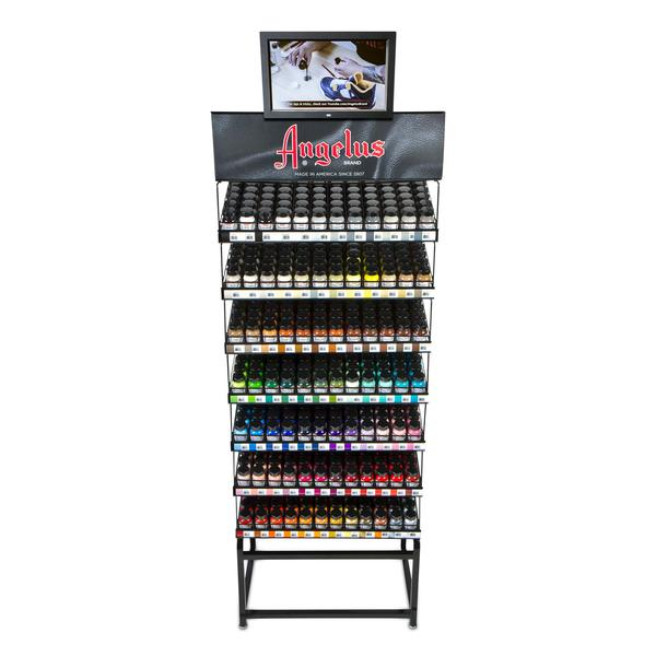 Introducing Angelus Paint Racks. You Can Now Showcase Our Product With  Minimal Space Taken Up. These Racks Are Made To Stack And Be Modular.