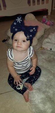 Navy Blue Snowflake Bow