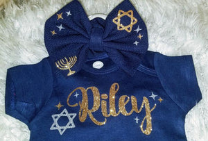 Navy Blue Hanukkah Bow
