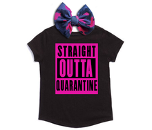 Load image into Gallery viewer, Straight Outta Quarantine Tee & Bow Set