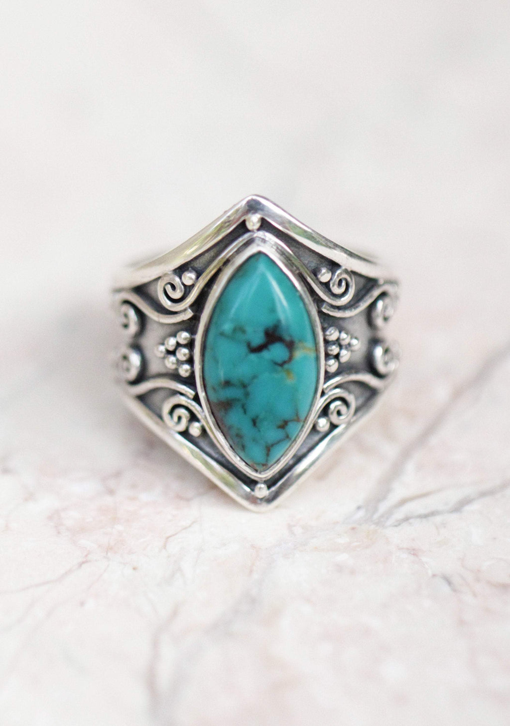 Turquoise Gemstone Ring Solid 925 Sterling Silver Band Turquoise Ring Size V937