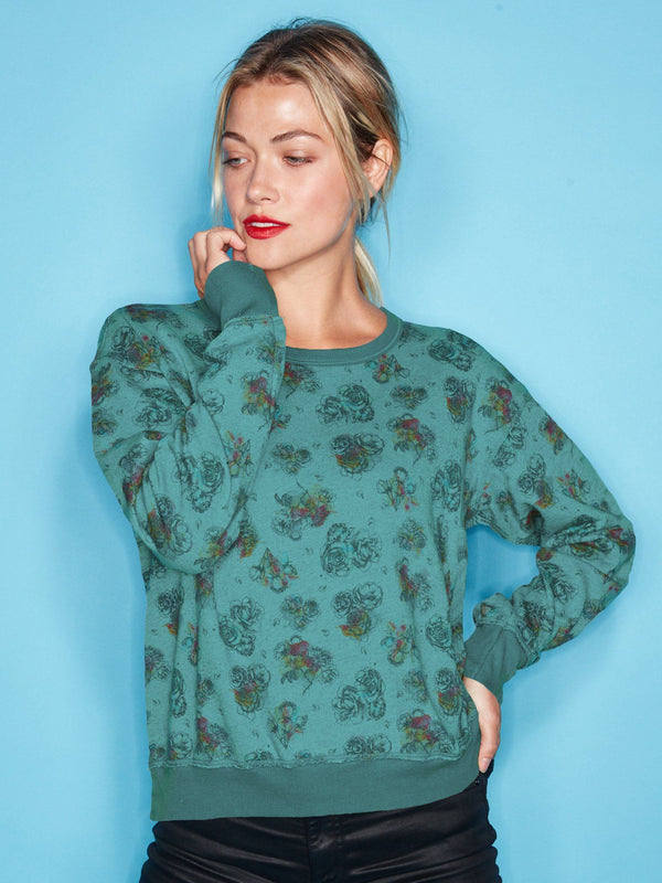 Crew Neck Sweater Funky Rose StoneFlowers