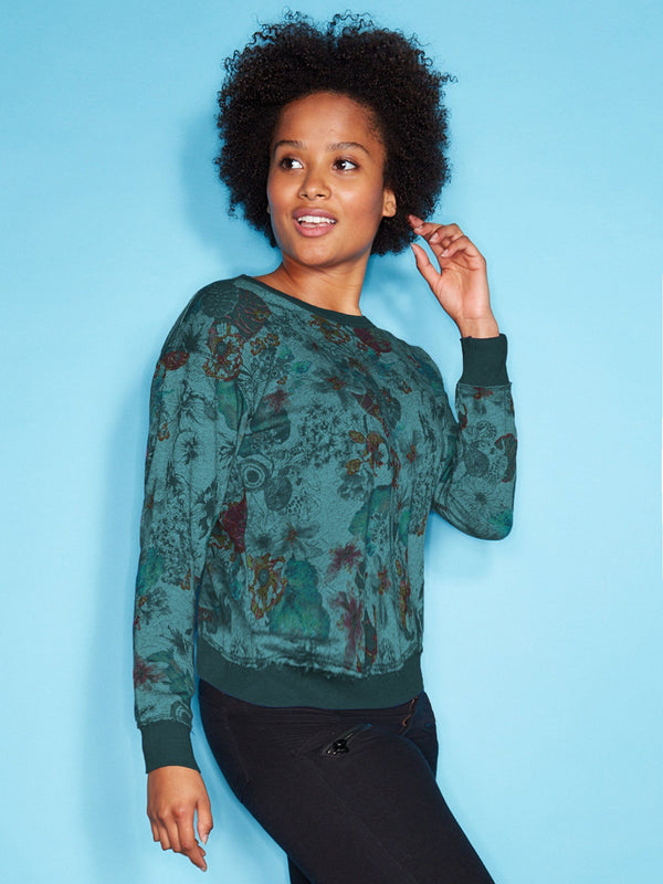 Crew Neck Sweater Tropical StoneFlowers