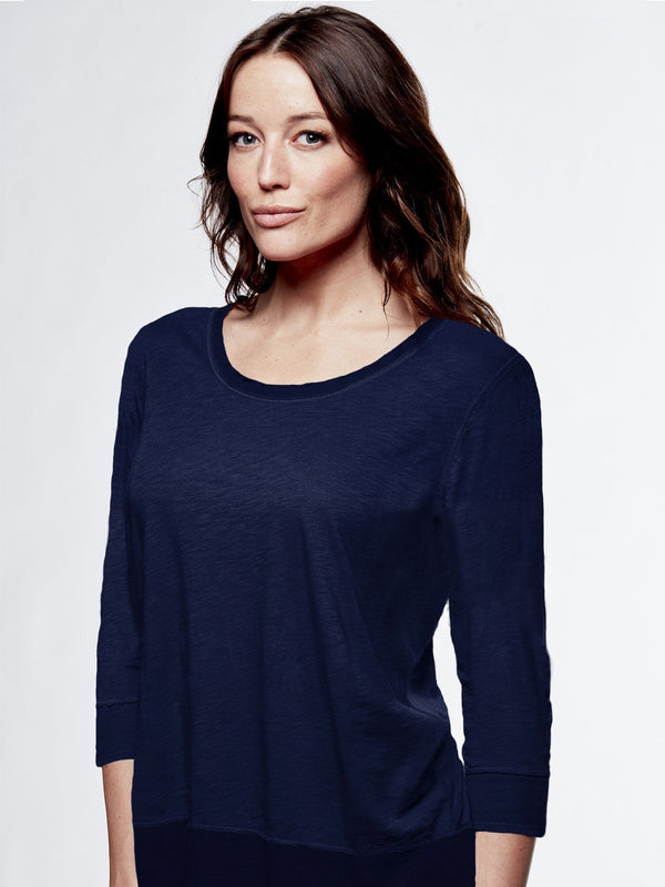 Georgette Scoop Neck 3/4 Sleeve StoneFlowers
