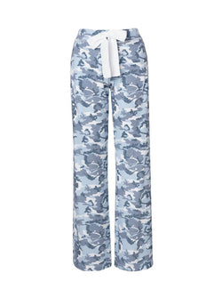 Pull-on Printed Straight Pants White Camo FRENCH TERRY StoneFlowers