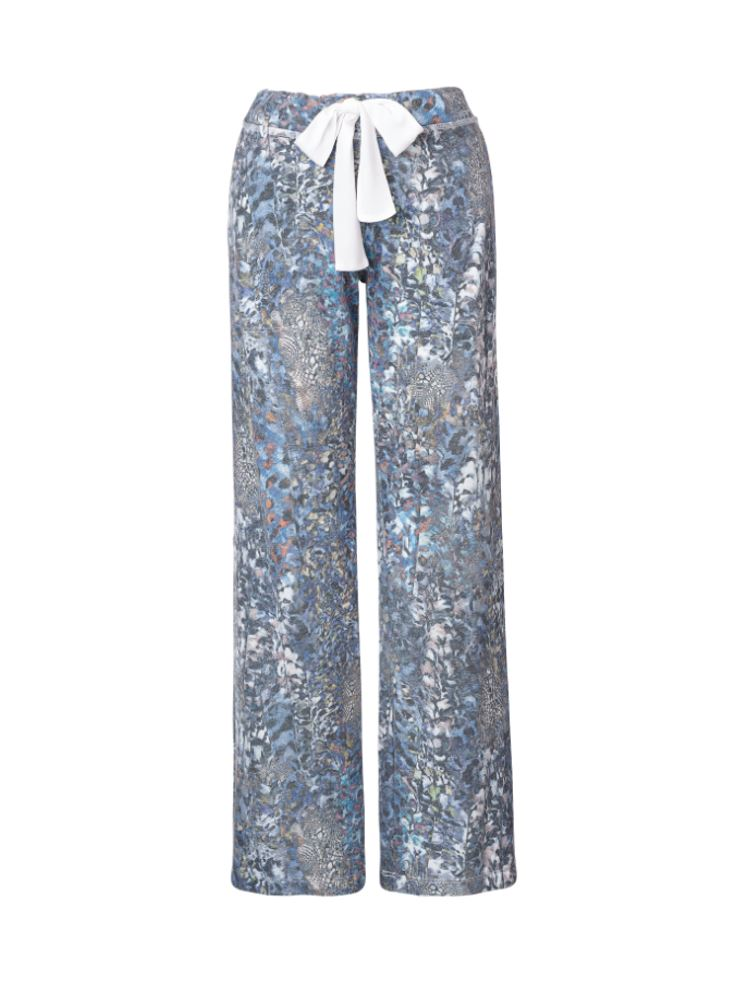 Pull-on Printed Straight Pants White Fomo FRENCH TERRY StoneFlowers