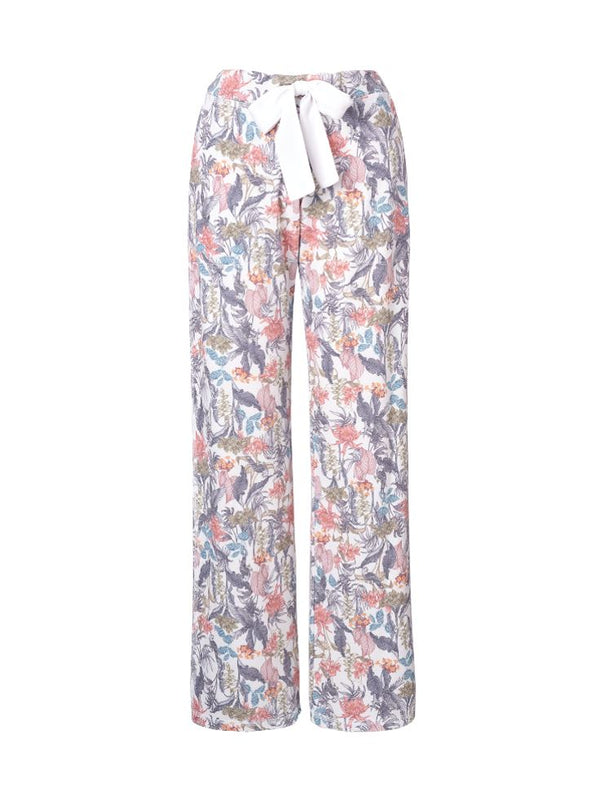 Pull-on Printed Straight Pants White Rio FRENCH TERRY StoneFlowers