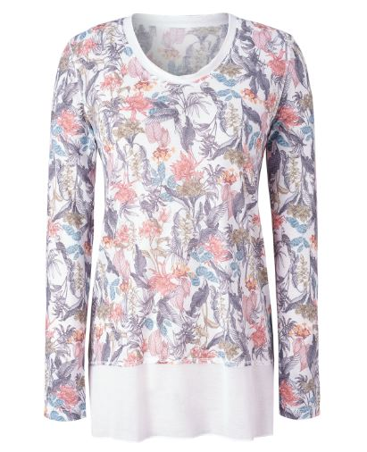 shopiy Long Sleeve Scoop Neck Tunic LIGHT JERSEY StoneFlowers WHITE RIO XS