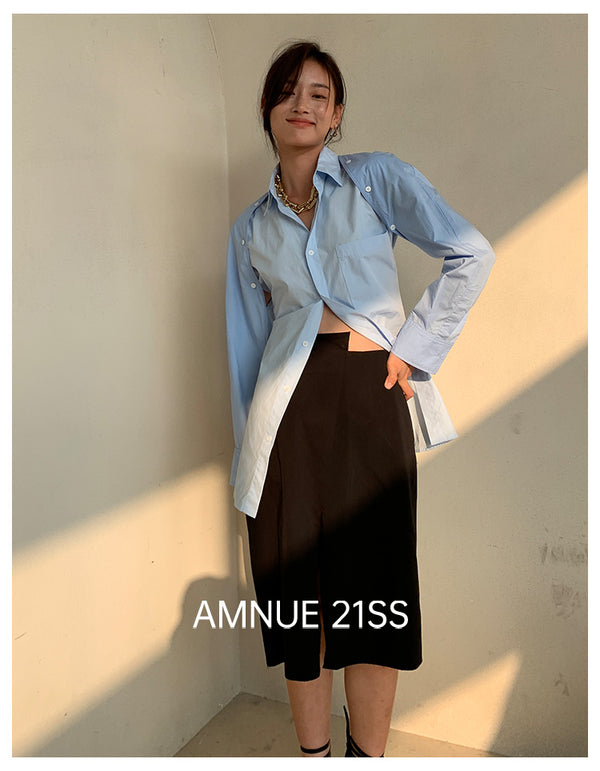 BLUE IN TWO TONES SHIRT - AMNUE