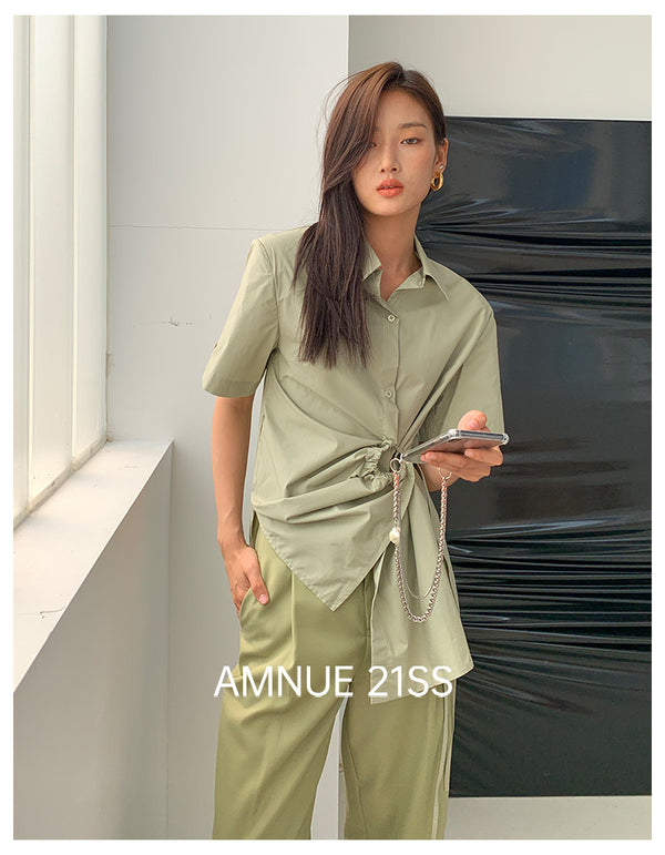 OLIVE GREY SHIRT - AMNUE