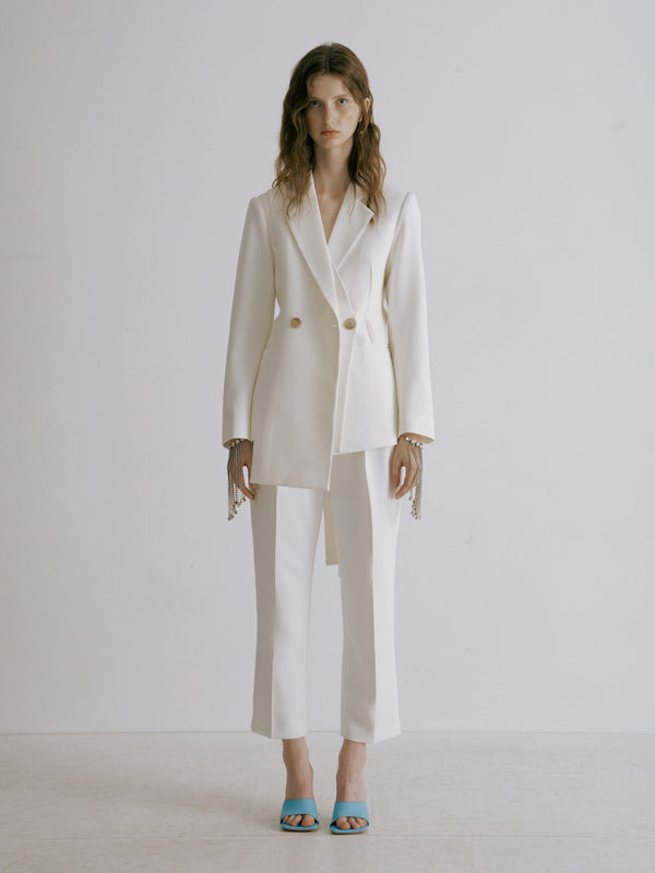 White Asymmetrical Belted Blazer - AMNUE