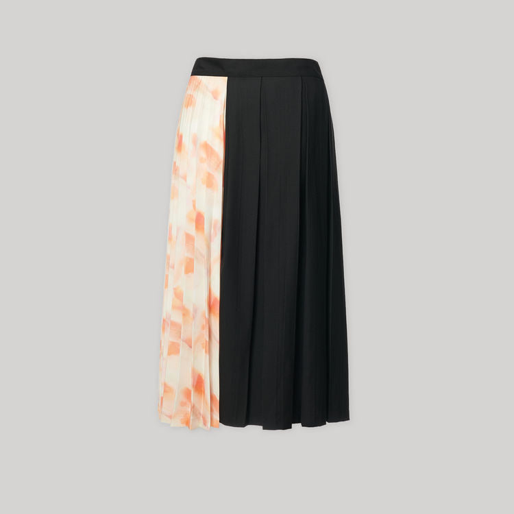 BLACK AND FLORAL PRINT SKIRT - AMNUE
