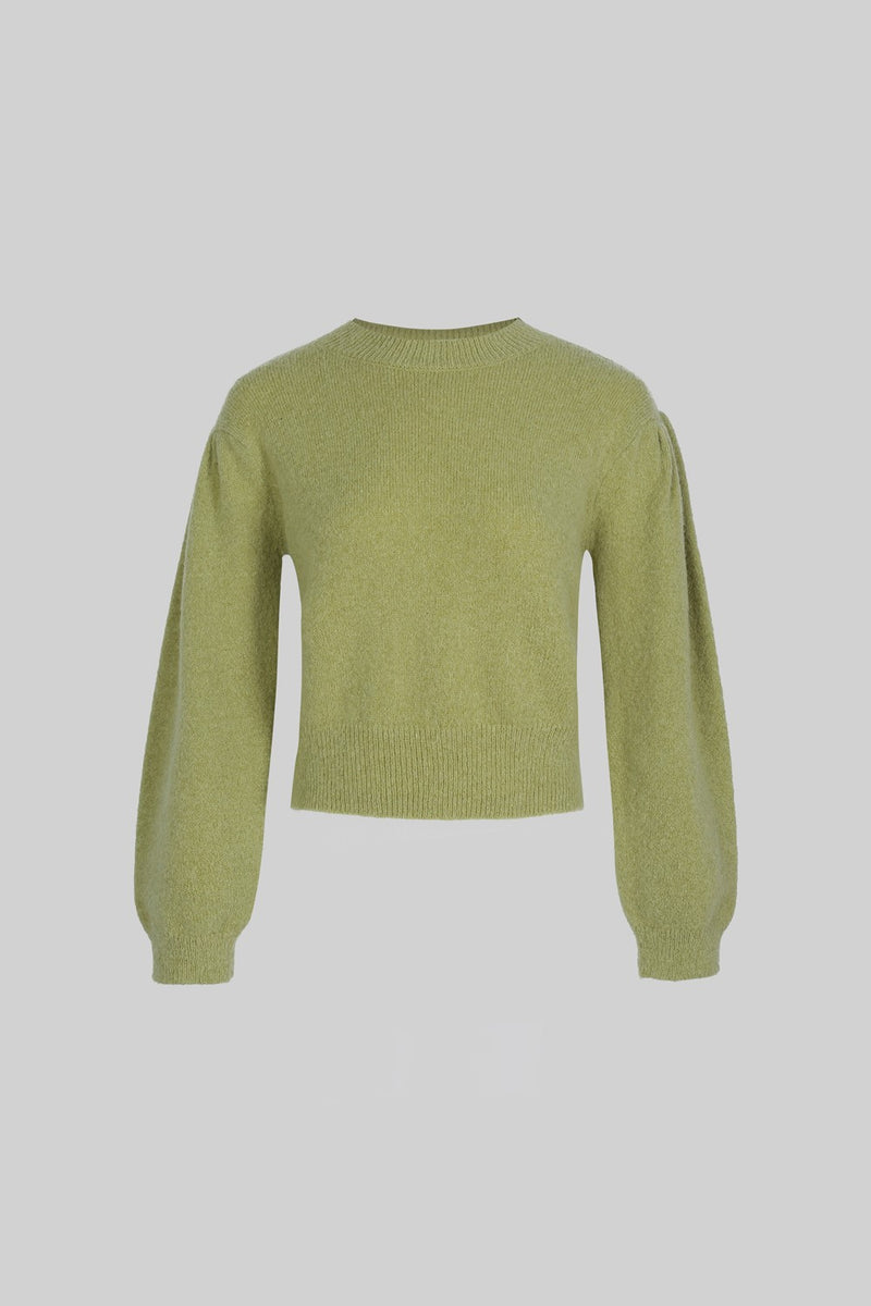 Avocado Green Knitted Wool Sweater - AMNUE