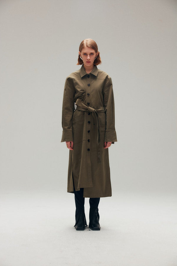 Olive Green Asymmetric Belted Coat - AMNUE