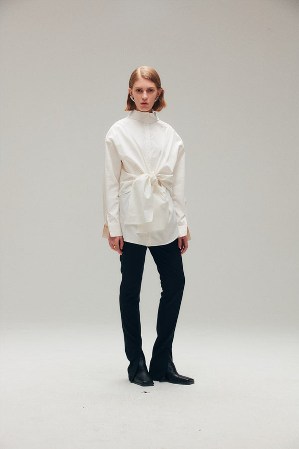 White Cotton Poplin Tie Up Blouse - AMNUE