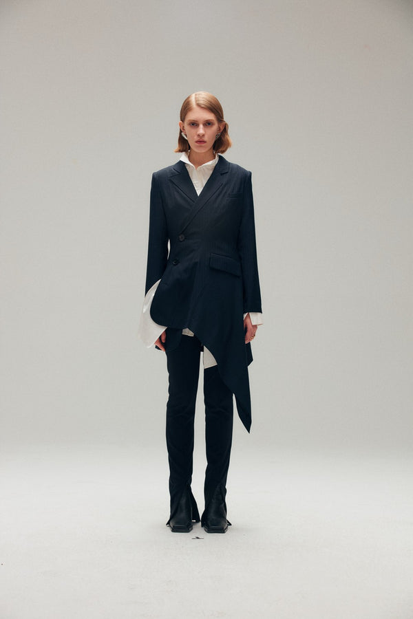 Wool Blended Asymmetric Drape Blazer - AMNUE