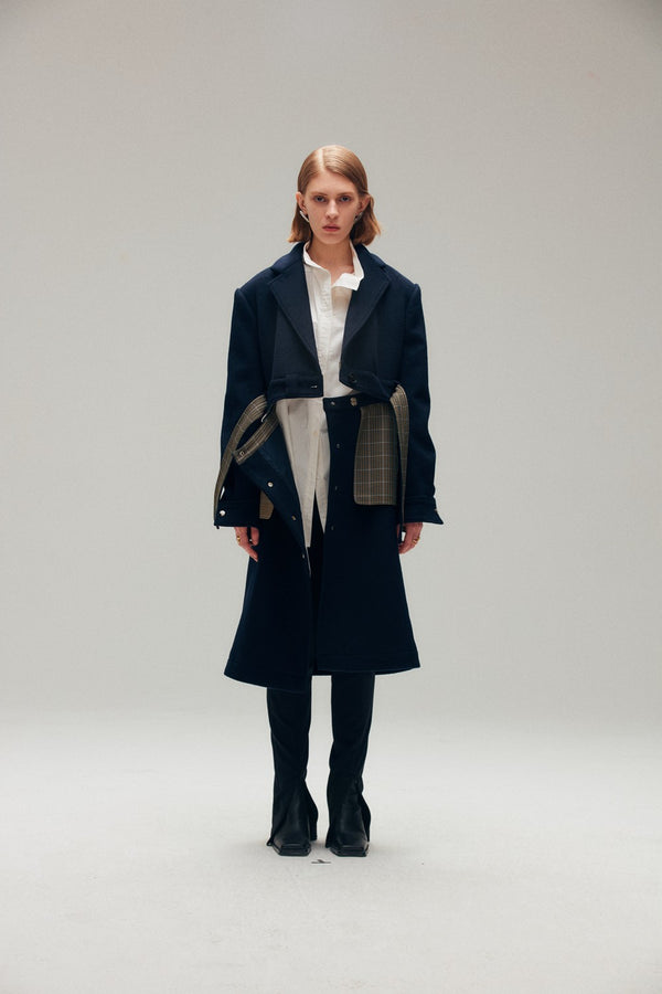 Navy Blue Blend Wool Coat - AMNUE