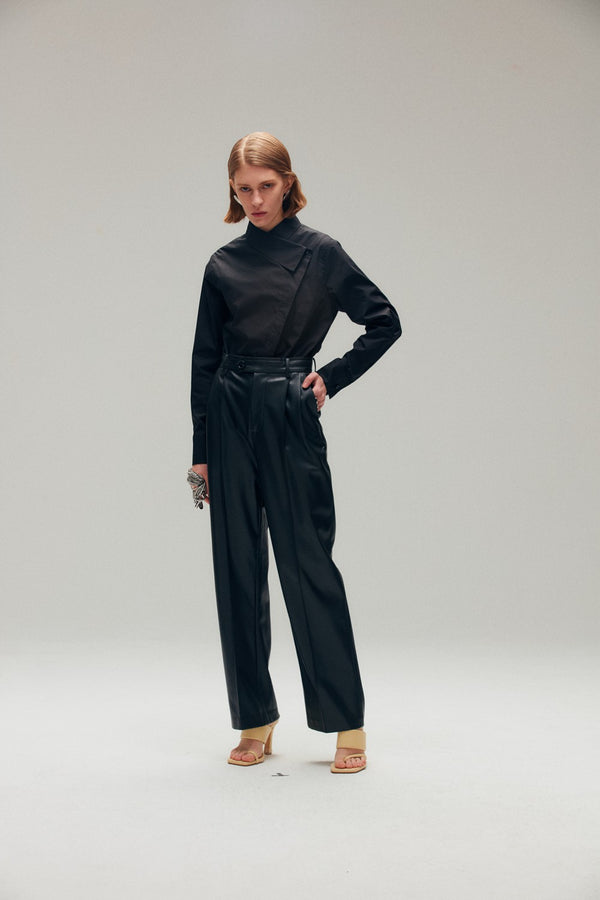 Asymmetric Wrap Effect Collar Shirt - AMNUE