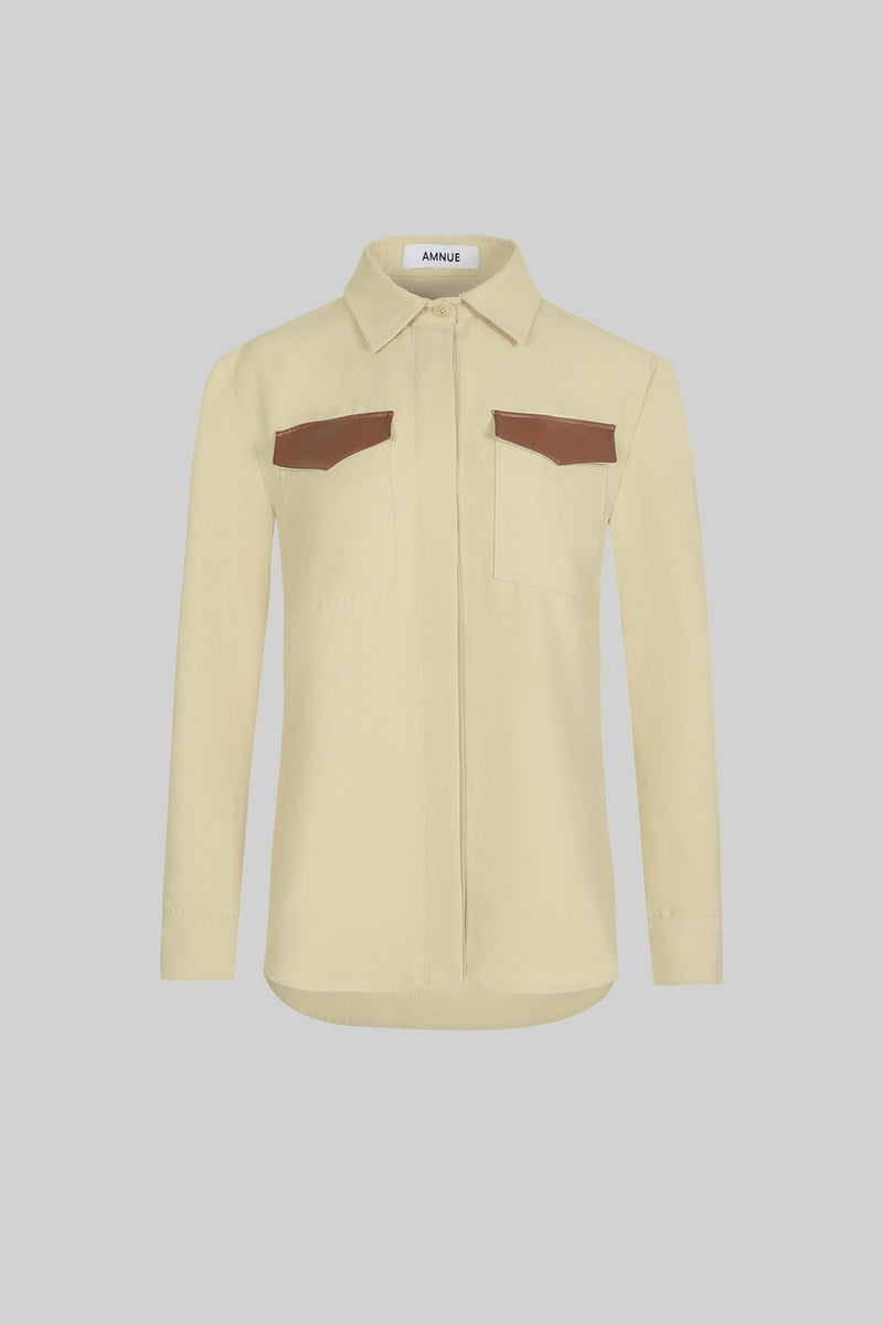 Ivory Faux Leather Trimmed Shirt - AMNUE
