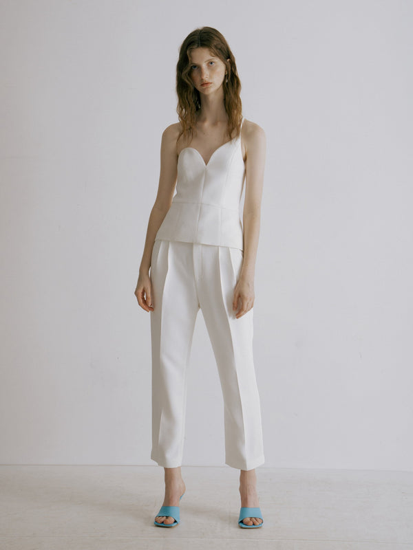 White Asymmetrical Tank Top - AMNUE