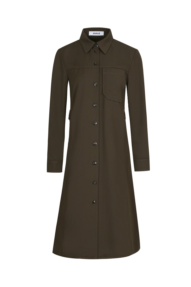 Dark Green Faux Leather Trimmed Shirt Dress - AMNUE