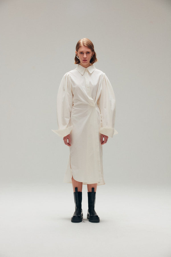 Twisted White Cotton Shirt Dress - AMNUE