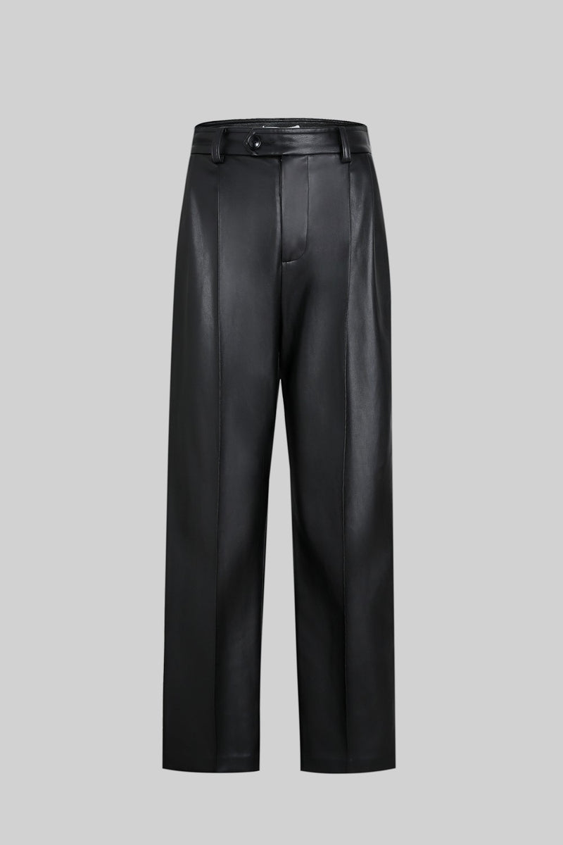 Black Faux Leather Wide Leg Pants - AMNUE