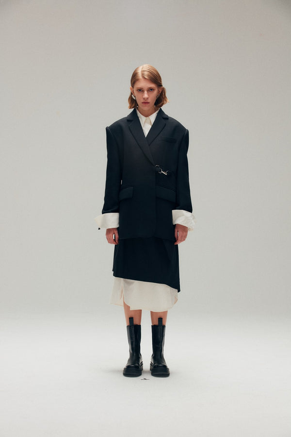 Black Coat with Faux Leather Collar - AMNUE