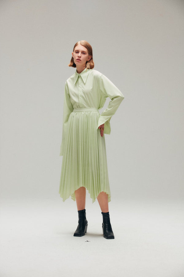 Light Green Cotton Poplin Shirt - AMNUE