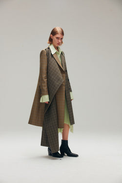 Contrast Tone Checked Coat with Detachable Wrap - AMNUE