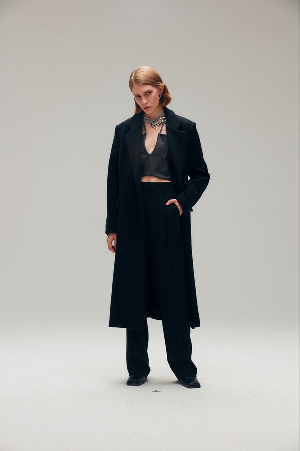 Black Wool Blend Coat - AMNUE