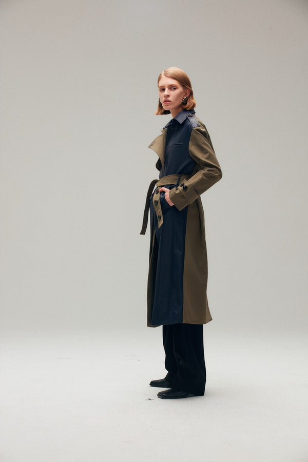 Dual Fabric Trench Coat - AMNUE