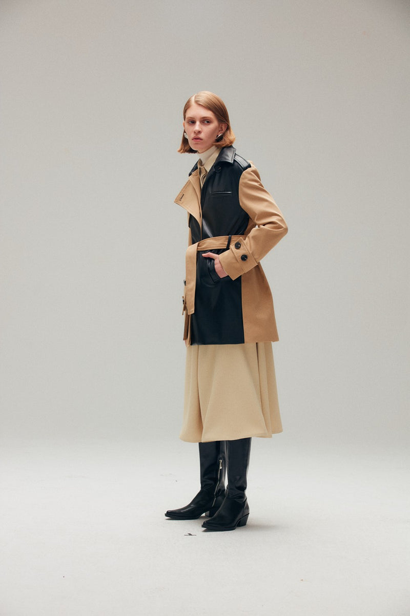 Dual Fabric Belted Jacket - AMNUE