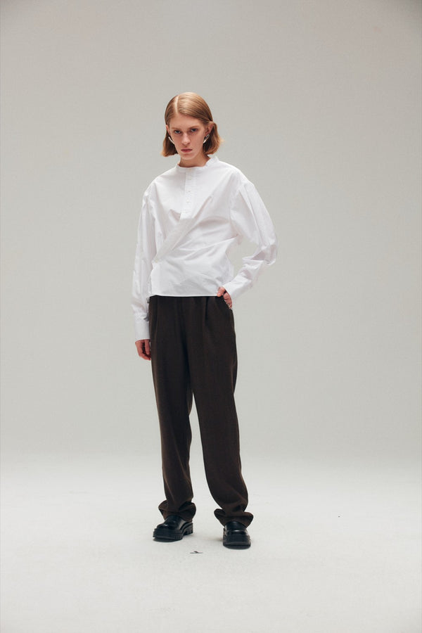 Twisted White Cotton Polin Shirt - AMNUE
