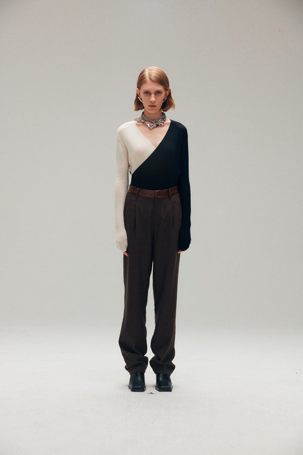 Two Tone Wool Knit Top - AMNUE