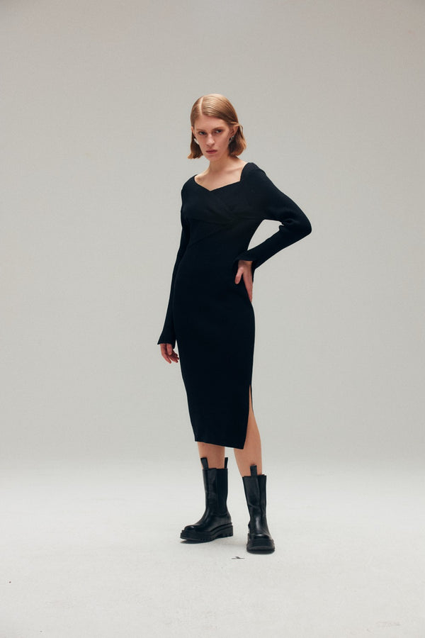 Black Ribbed Knit Sweater Dress with Knot Detail - AMNUE