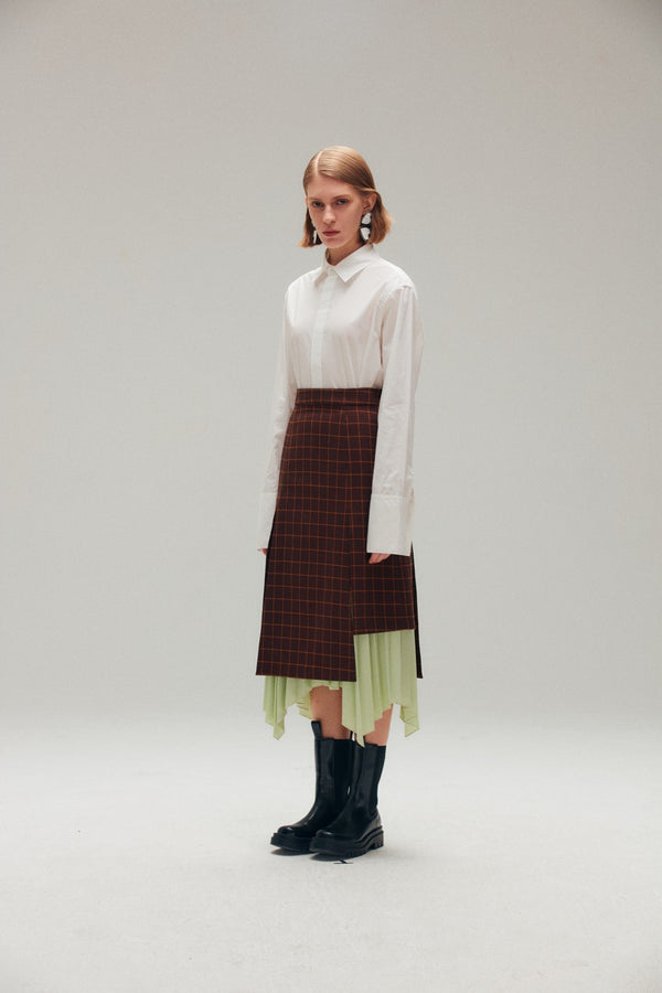 Asymmetric Double Layered Skirt - AMNUE