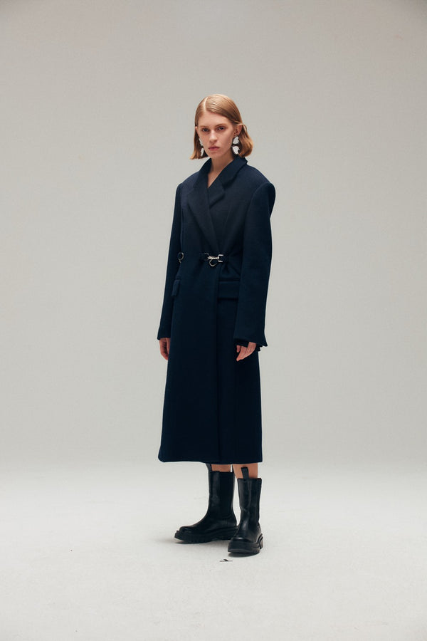 Navy Blue Wool Blend Coat with Metal Click - AMNUE