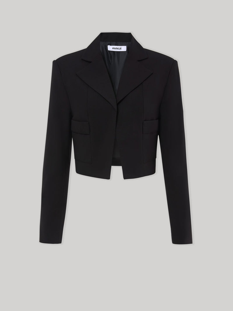 Black Cropped Blazer - AMNUE