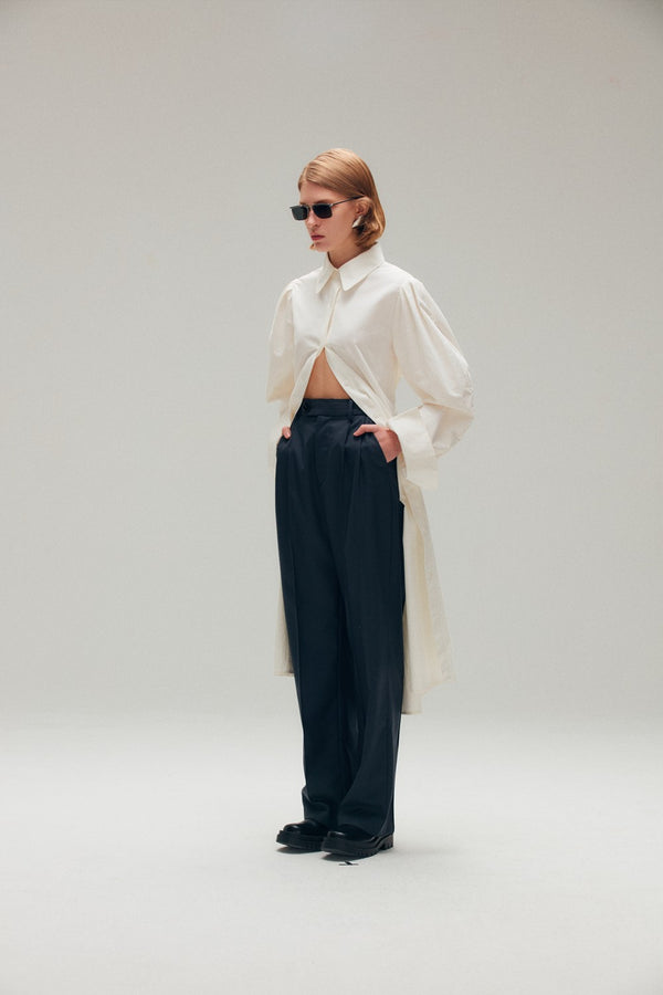 Navy Blue Wide Leg Pants - AMNUE