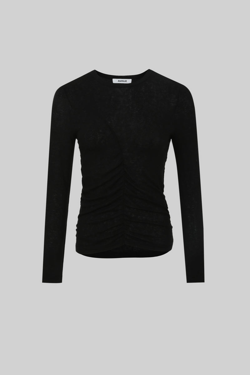 Black Stretch Knit Top - AMNUE