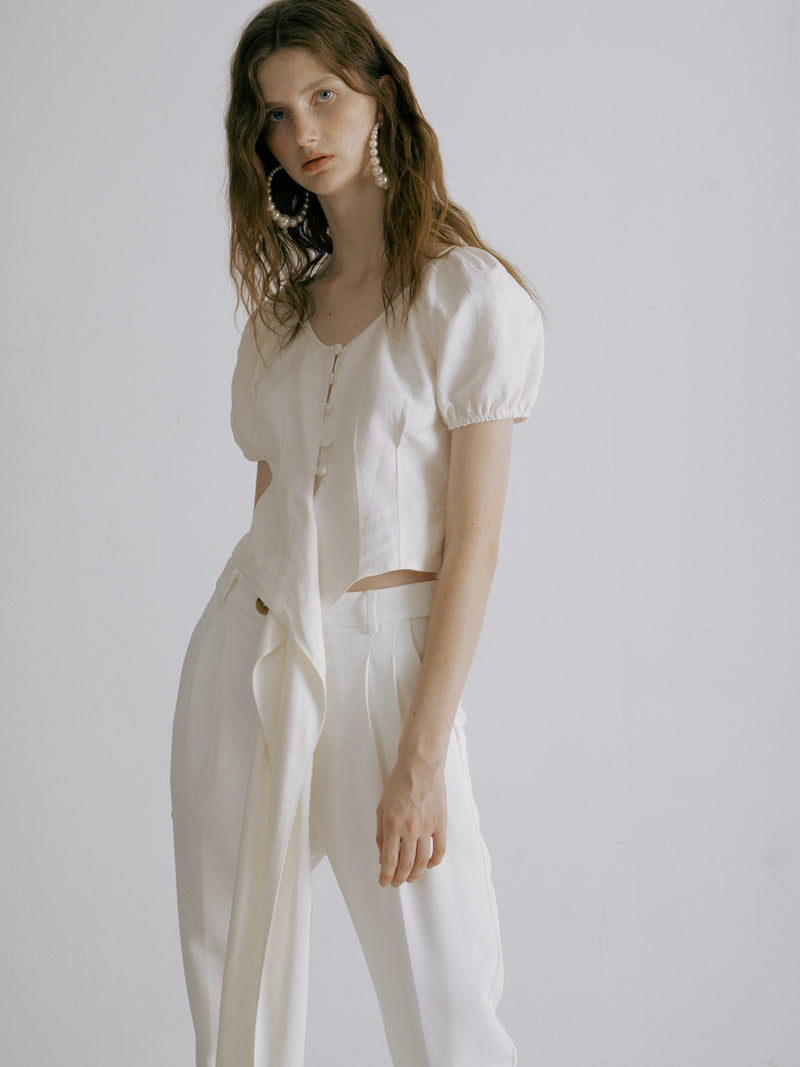 White Short Sleeved Tie-Up Blouse - AMNUE