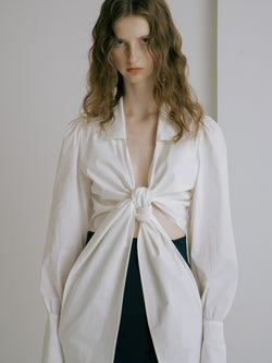 White Tie-Up Blouse - AMNUE