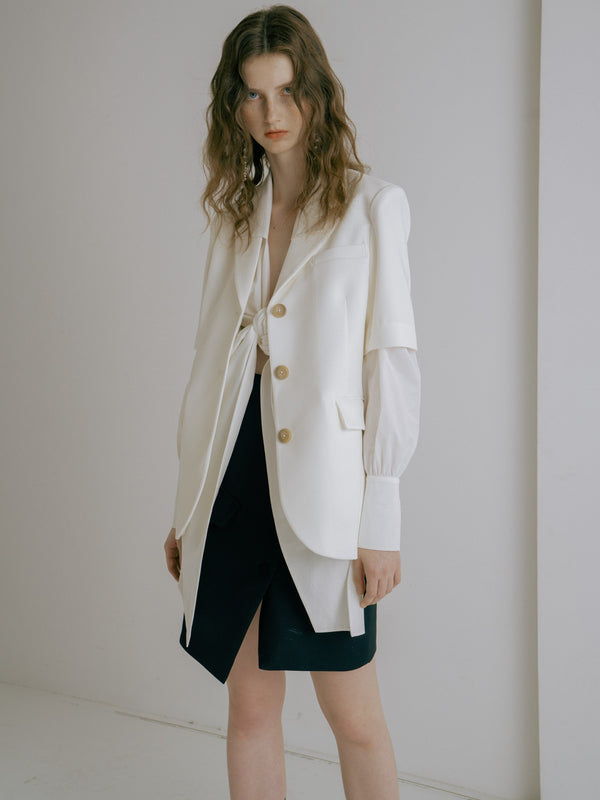 White Short Sleeved Blazer - AMNUE