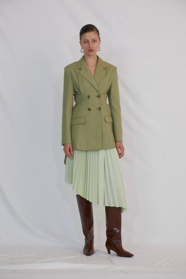 GREEN PLEATED SKIRT - AMNUE