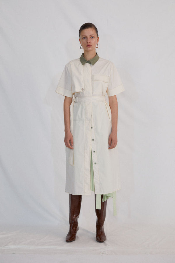 IVORY AND GREEN SHIRT DRESS - AMNUE