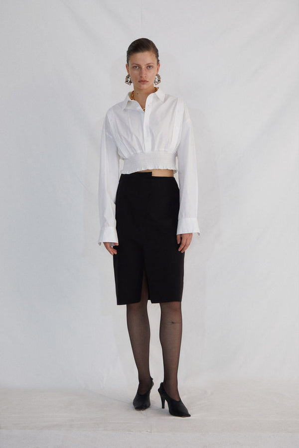 WHITE SHORT WAIST SHIRT - AMNUE