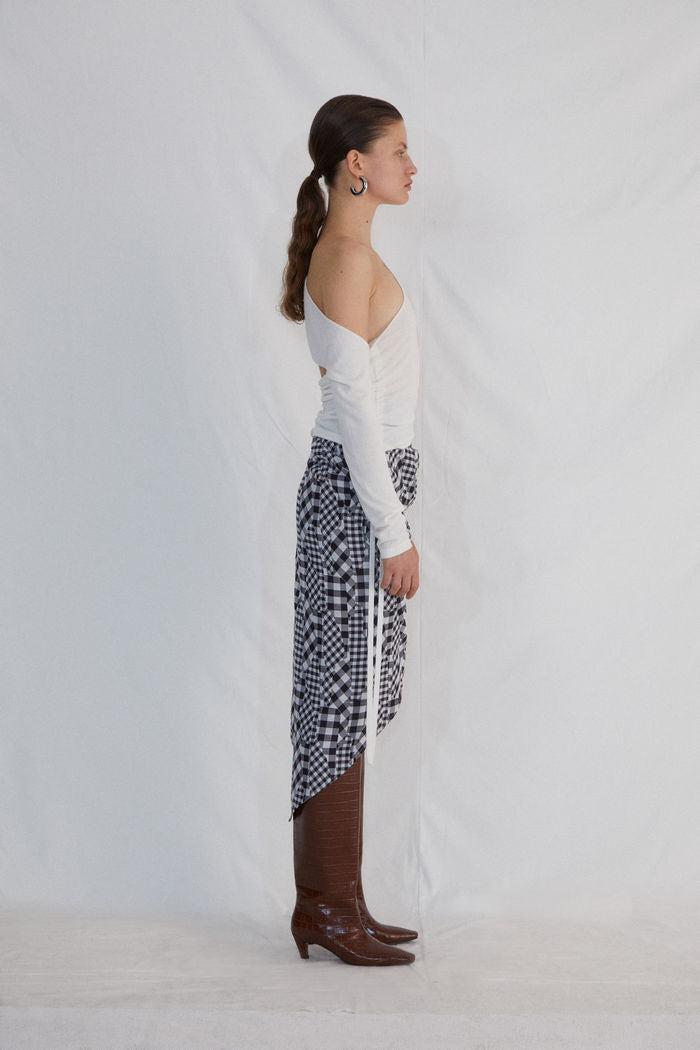 BLACK AND WHITE CHECKED SKIRT - AMNUE