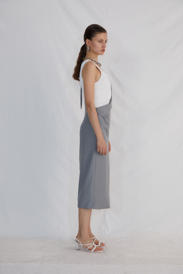 GREY HALF SKIRT WITH SPLIT BACK - AMNUE