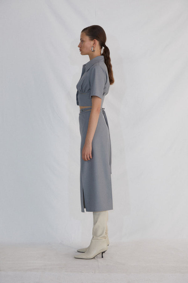 GREY SHORT SLEEVED BLOUSE - AMNUE